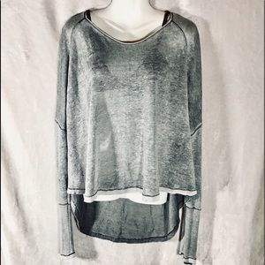 Free People Slight Sheer Grey Long Sleeve Tee, XS